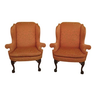 21st Century Kindel Winterthur Collection Clawfoot Wing Chairs- A Pair For Sale