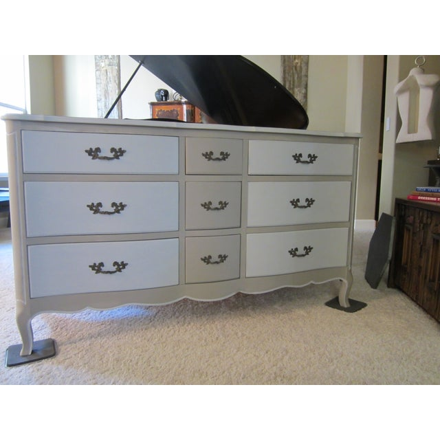 French Country Refinished Two Tone Gray Dresser - Image 2 of 11