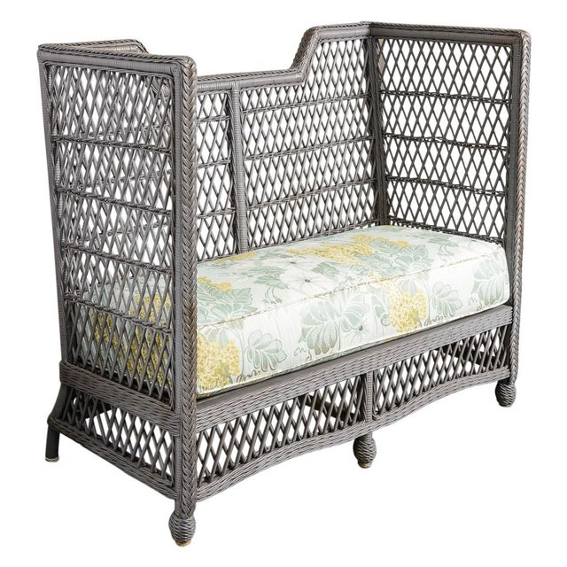 Vintage High Back Wicker Loveseat/Settee in Grey For Sale - Image 12 of 12