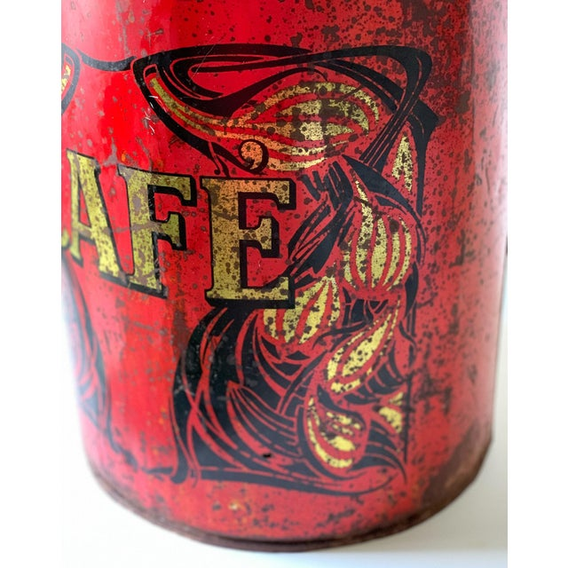 1920s Large French Country Store Coffee Tin For Sale - Image 4 of 11