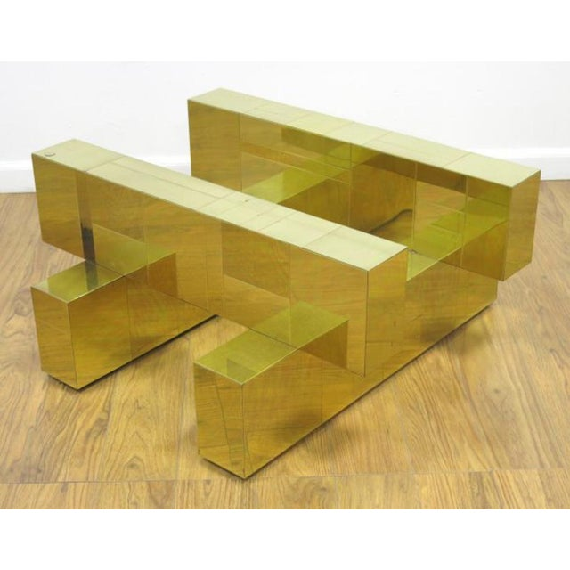 """Paul Evans Brass """"Cityscape"""" Coffee Table - Signed - Image 2 of 7"""