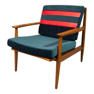 1960s Mid-Century Curated Danish Teak Armchair with Teal Velvet and Red Striped Vinyl For Sale