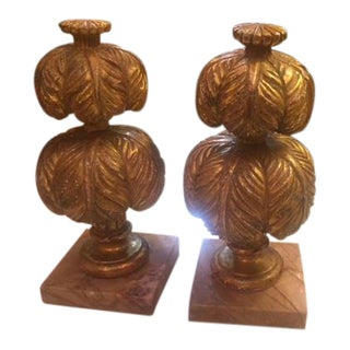 Carved Giltwood Plume Finials on Base - a Pair For Sale