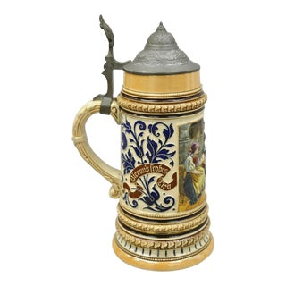 Antique Pewter Lidded 1l Marzi and Remy #476 German Beer Stein Tavern For Sale