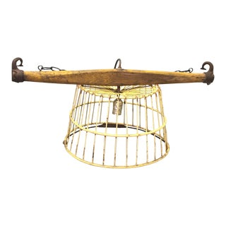 Industrial Vintage Farmhouse Rustic Egg Basket Lamp For Sale