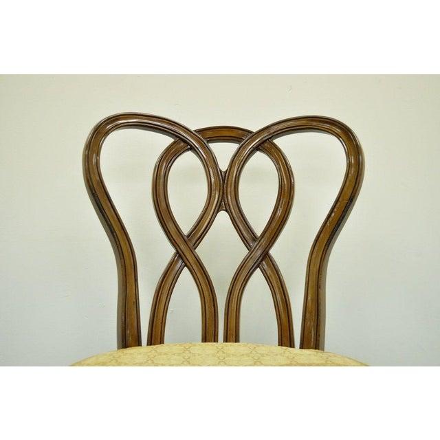 Wood Vintage Hollywood Regency Solid Wood Loop Back Side Occasional Desk Dining Chair For Sale - Image 7 of 11