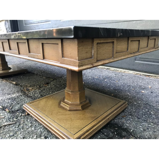 Art Deco Art Deco Walnut and Marble Coffee Table For Sale - Image 3 of 12