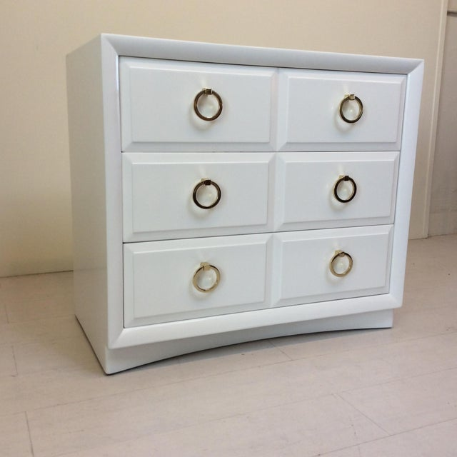 This gorgeous white designer dresser is a special piece by T.H. Robsjohn-Gibbings for Widdicomb. This highly sought after...