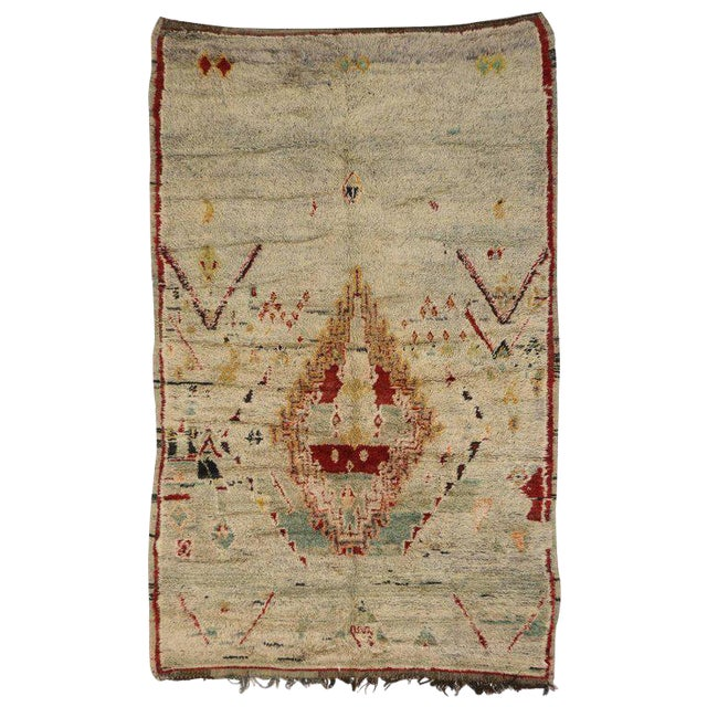 Vintage Berber Moroccan Azilal Rug with Tribal Style For Sale