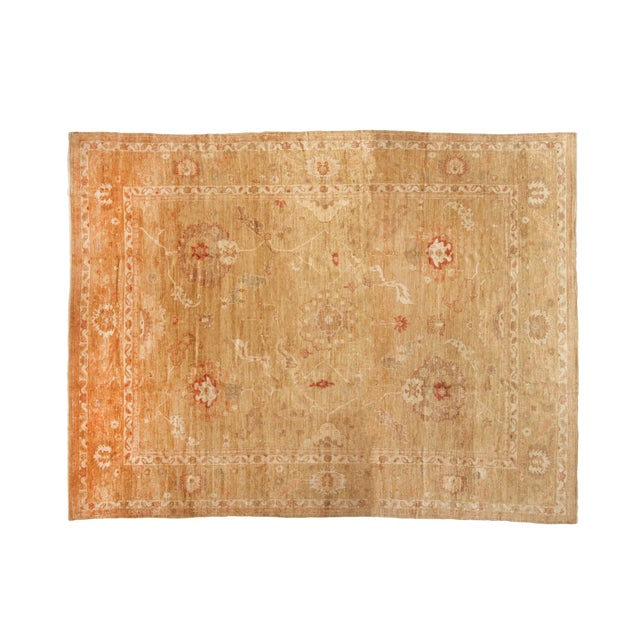Transitional Oushak Design Tan and Red Wool Rug For Sale