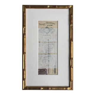 Abstract Pastel on Vintage Paper, French Bank Note #2, Framed For Sale