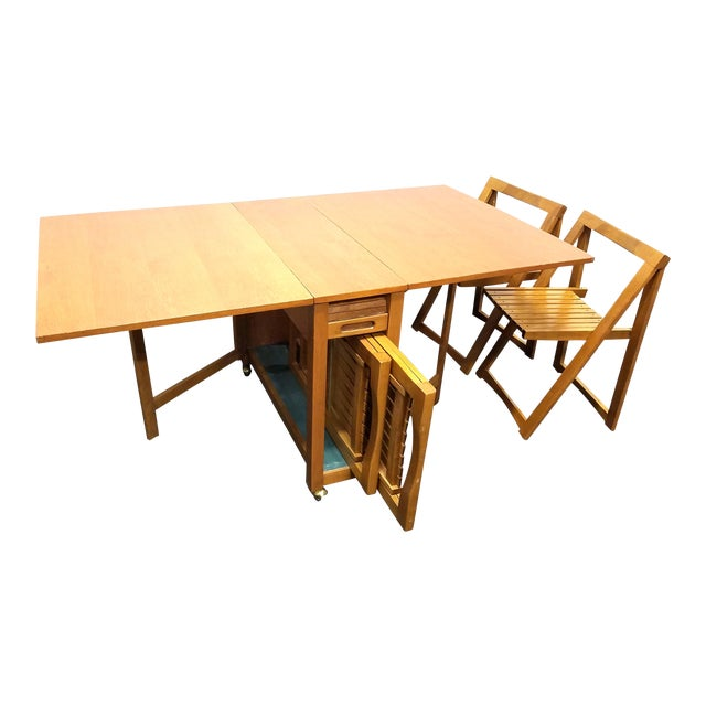 19760679888c Vintage Mid-Century Modern Drop Leaf Table With Chairs and Storage Set For  Sale