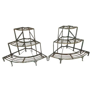 French Wrought Iron Plant Stands - a Pair For Sale
