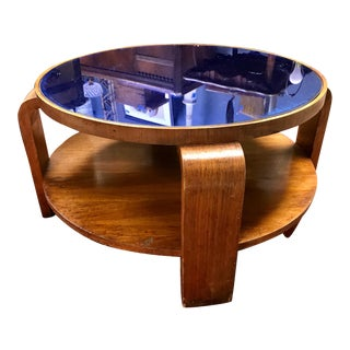 Mid-Century Modern Gilbert Rohde Coffee Table With Cobalt Blue Glass Top For Sale