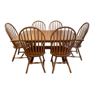 Hunts Country Furniture Extensions Trestle Table + Six Bow Chairs Set For Sale
