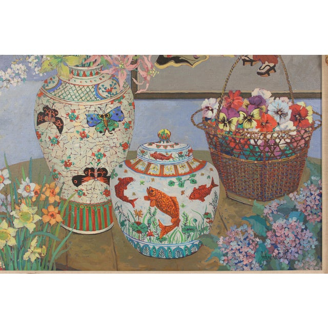Canvas Chinoiserie Still Life by John Powell For Sale - Image 7 of 13