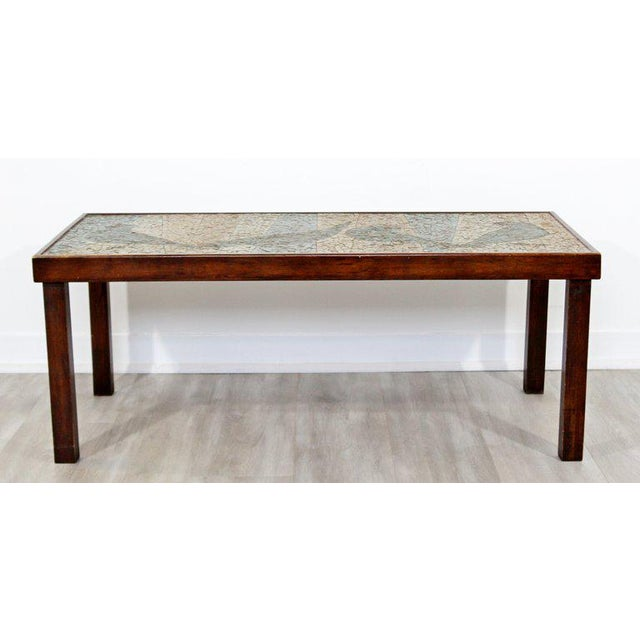 Mid-Century Modern Birds Mosaic Tile Art Top Rectangular Wood Coffee Table, 1960s For Sale - Image 4 of 8
