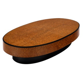 1960s Vintage Burled Thuya Oval Coffee Table For Sale