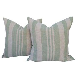 Sage Green Stripe Grain Sack Pillows - A Pair