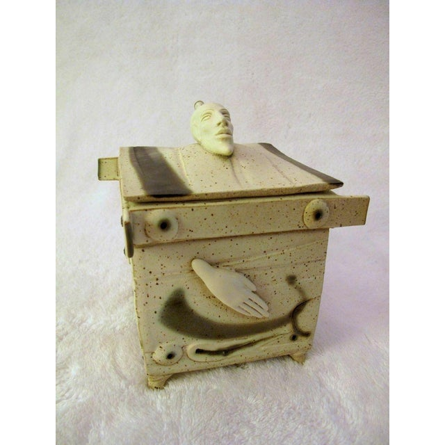 Kostas Ulevicius Tribal Spiritual Sculptural Face Pottery Box W/Lid For Sale - Image 10 of 10