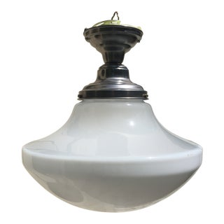 Vintage Farmhouse Shade With Brushed Nickel Ceiling Fixture For Sale