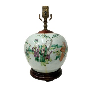 Early 19th Century Famile Rose Playing Children Vintage Table Lamp