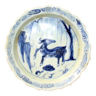 Chinese Blue White Round Oriental Animal Graphic Porcelain Plate For Sale