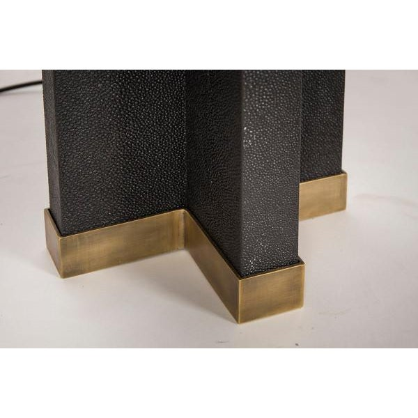 2010s Black Shagreen Lamp With Black Shade For Sale - Image 5 of 7