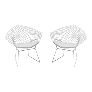 1990s Vintage Harry Bertoia for Knoll Diamond Lounge Chairs- a Pair For Sale