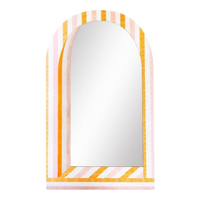 Fleur Home x Chairish Palm Orleans Cabana Stripe Short Spritz Mirror For Sale