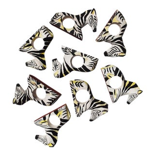 Carved Wood Zebra Animal Napkin Rings in Black and White, Philippines - Set of 8 For Sale