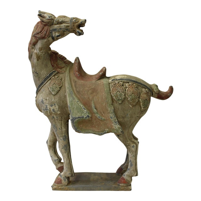 Chinese Pottery Clay Ancient Style Rustic Horse Figure - Image 1 of 7