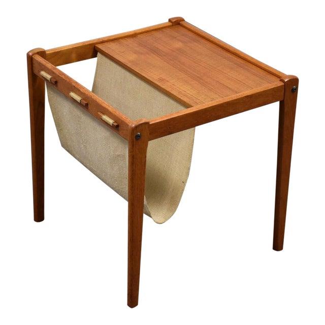 Danish Teak Magazine Rack End Table For Sale