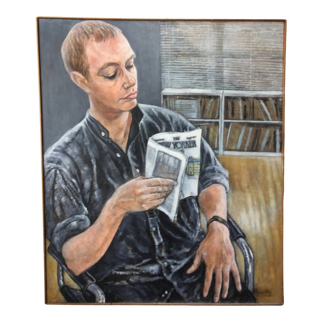 Portrait Painting of Man Reading by Florence Hurewitz For Sale