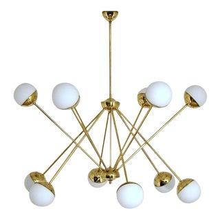 Italian Gold Brass Sputnik Chandelier For Sale