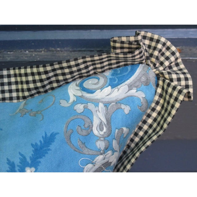 French Country Blue Pillow Made with Antique Fabric For Sale - Image 3 of 5