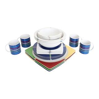 Postmodern Color Block Dinnerware - 4 Full Place Settings + 6 Servers - Set of 22 For Sale