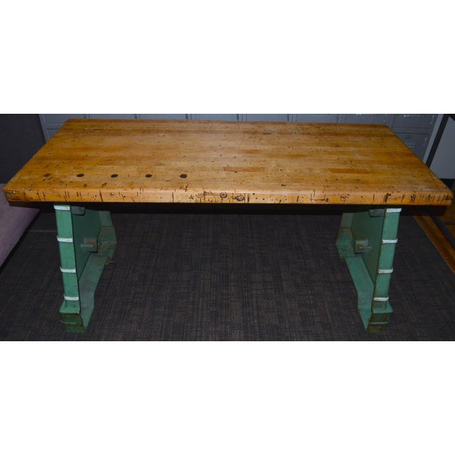 Industrial Maple Top Work Table - Image 4 of 10
