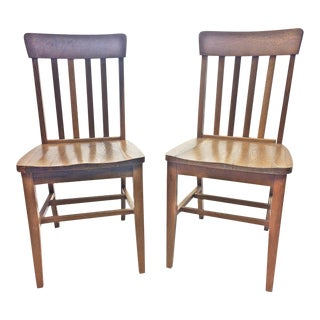 Vintage Industrial Wood Banker's Office Chairs - A Pair