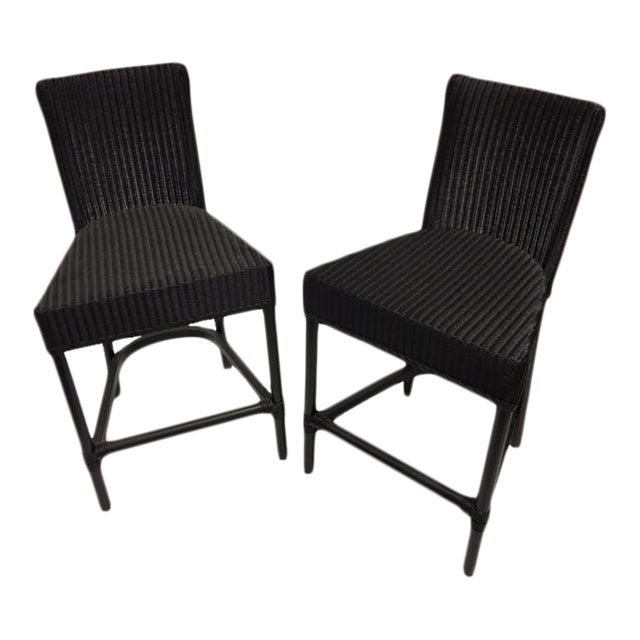 Black Loom Counter Height Stools - A Pair - Image 1 of 5