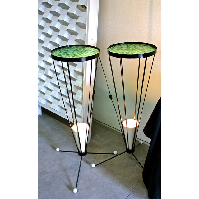 Mid Century 1950s Green Glass Atomic Light Stands - a Pair - Image 4 of 4