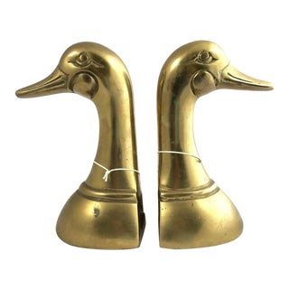Vintage Mid-Century Modern Brass Mallard Bookends - a Pair For Sale