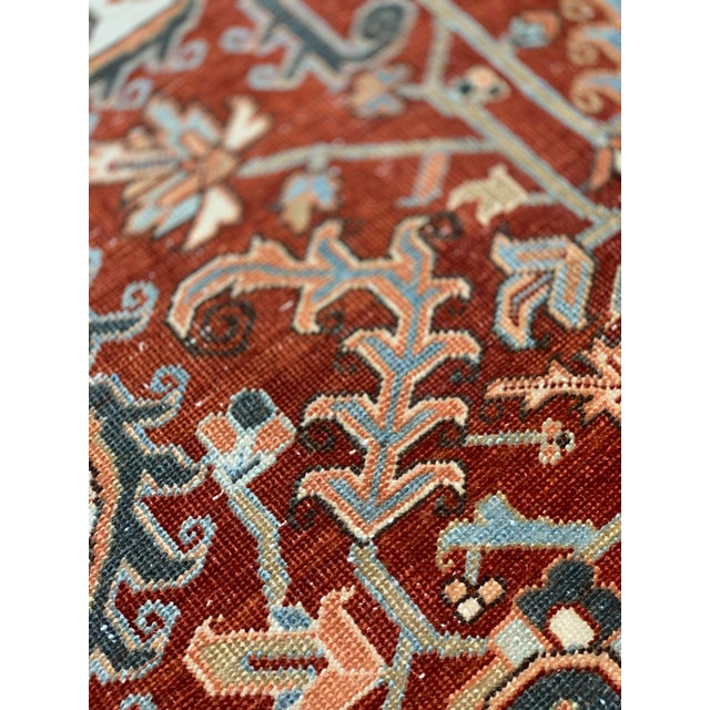 Textile 1920s Vintage Persian Heriz Area Rug - 9′5″ × 12′4″ For Sale - Image 7 of 13