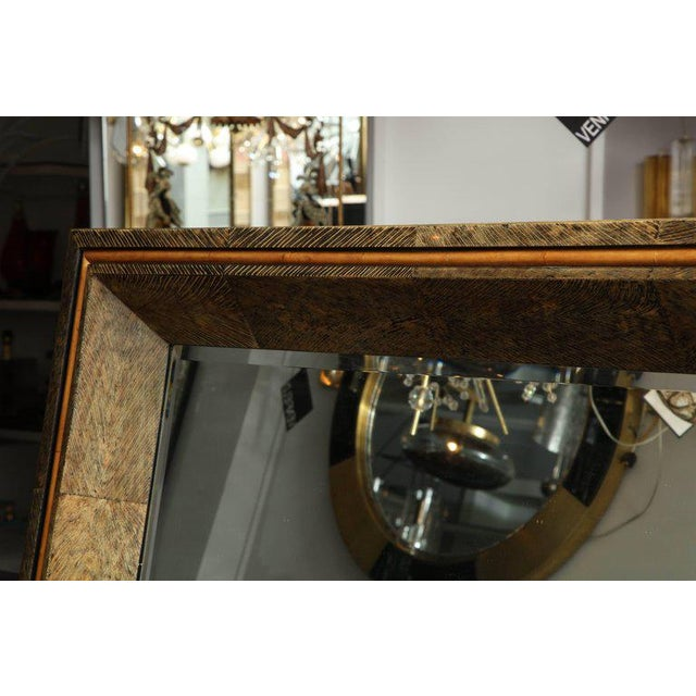 Contemporary Enormous Coco Fiber Mirror with Orange Goatskin Insert For Sale - Image 3 of 7