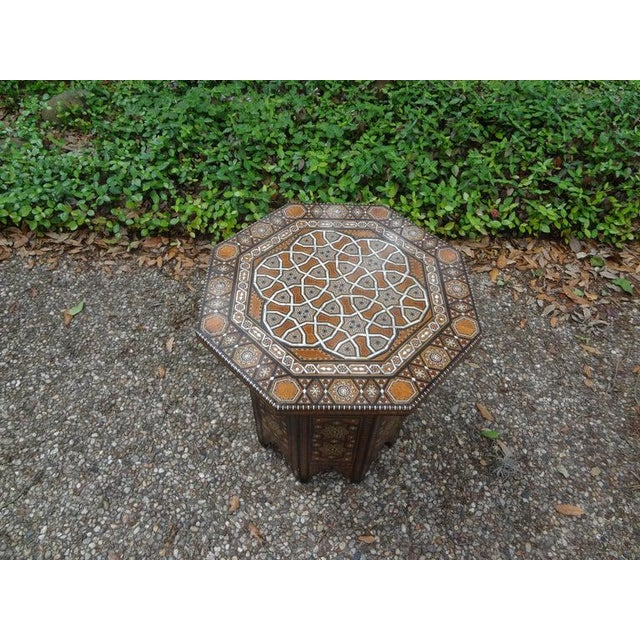 Antique Middle Eastern Arabesque Style Mother of Pearl Inlaid Table For Sale - Image 11 of 13