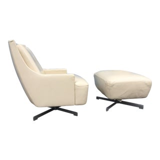 Contemporary Barbara Barry & HBF Scoop Lounge Chair & Ottoman - a Pair