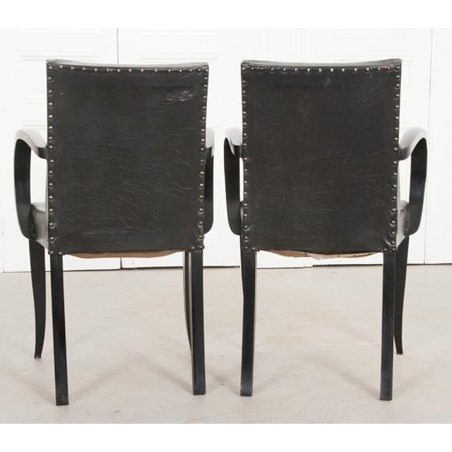 French 20th Century Art Deco Ebony Armchairs - a Pair For Sale - Image 9 of 10