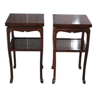 Chinese Walnut Tea Tables - a Pair For Sale