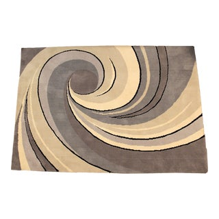 Mid-Century Modern Wilton Carpets Blue Gray Swirl Area Rug Made in Israel - 5′6″ × 7′11″ For Sale