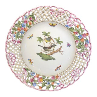 Herend Reticulated Rothschild Bird Plate For Sale
